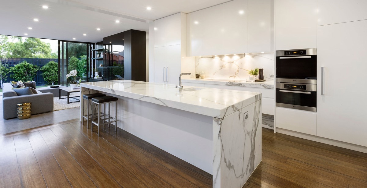 white-marble-kitchen-polished-wooden-floor